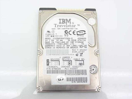 "IBM 07N8326  30.0GB Hard Drive 9.5mm 4200RPM 5V 2.5"" IC25N030AT"