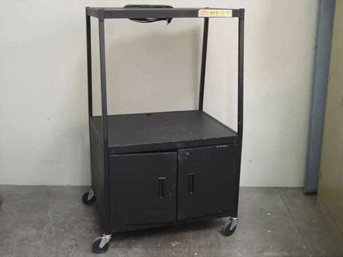 Black Rolling Cabinet Audio Visual Cart (2 shelf)
