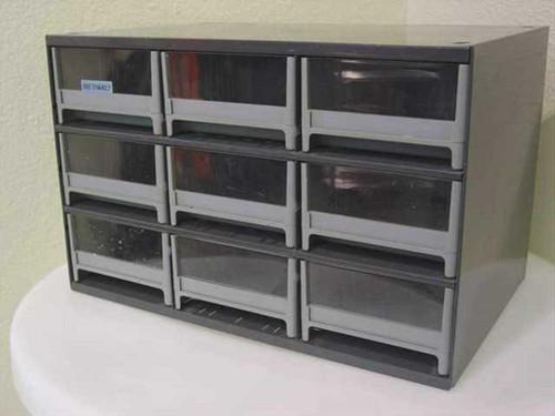 "Bretford Grey  Steel Cabinet w/ 9 Plastic Drawers 17 1/2""x11""x11"""