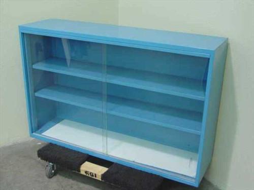 """Blue Metal 48""""w x 31""""h x 13'd  Big Glass Display Metal Cabinet"""