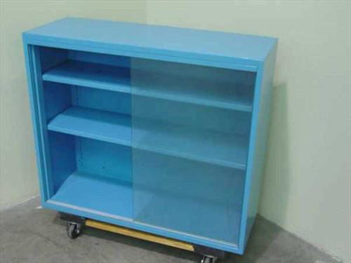 """Blue Steel 36""""w x 31""""h x 13"""" d  Glass Display Metal Cabinet"""