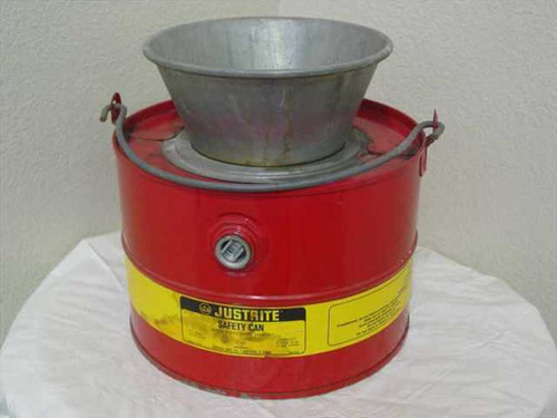 Justrite 10903  3 Gallon Solvent Safety Drain Can w/ Steel Funnel