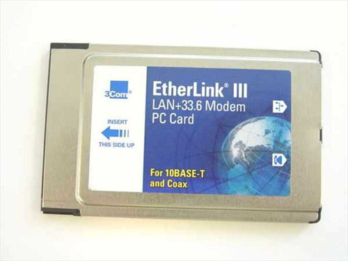 3COM 3C562  33.6K PCMCIA Combo Ethernet modem - No Dongle