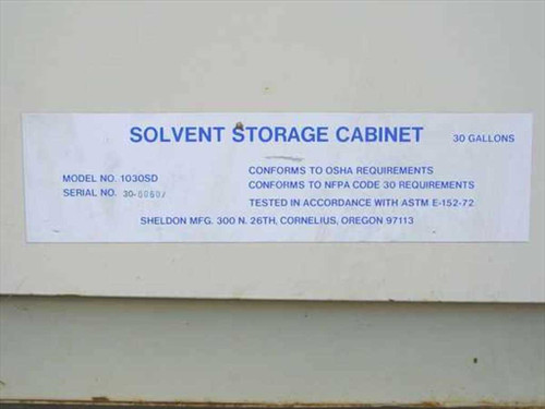 ... Sheldon 1030SD Solvent Storage Cabinet   30 Gallon