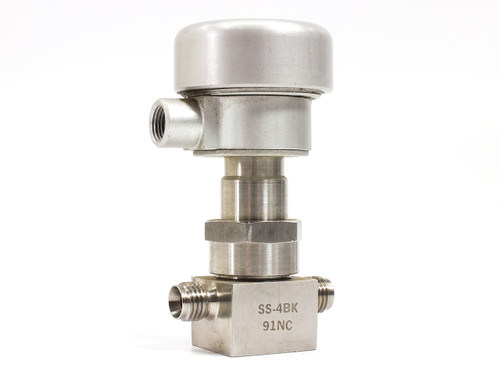 "Nupro SS-4BK-91NC SS Pneumatic Actuated Bellows Valve PCTFE Stem Tip 1/4"" NPT"