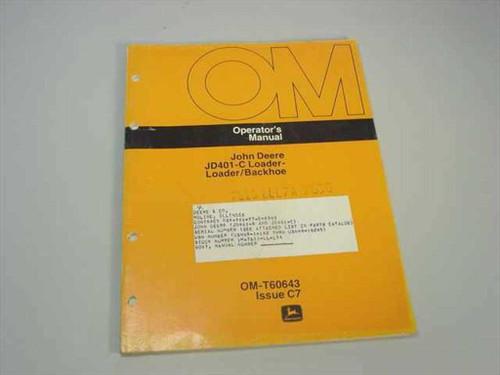 John Deere OM-T60643  JD401-C Loader-Loader/Backhoe - Operator's Manual