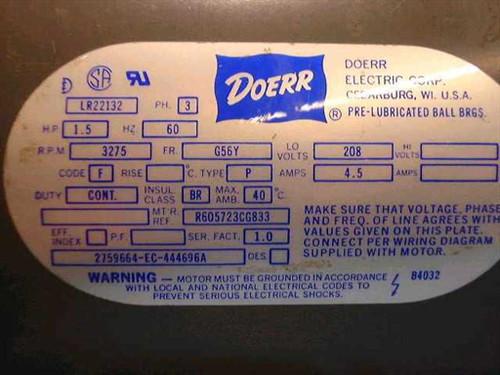 doerr type p 1 5 hp 3275 rpm electric motor w brake doerr lr22132 wiring diagram electric motors wiring diagram doerr