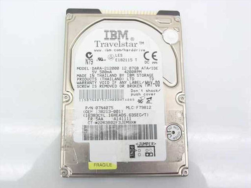 """IBM DARA-21200  12 GB 2.5"""" 9.5MM Laptop Hard Drive 31L9800"""