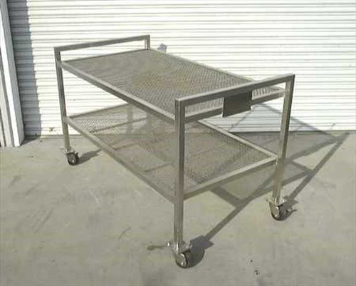 Generic Lab Cart  Heavy Duty Stainless Steel Wire Mesh Lab Cart