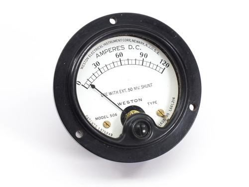 Weston Electrical Model 506  0-120 Amperes D.C. Gauge