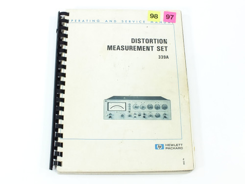 HP 339A  Distortion Measurement Set Operating and Service Manual