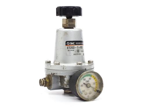 """SMC ET203-1-F02  Vacuum Regulator 1/4"""" NPT -100 to -1.3 kPa with Gauge"""
