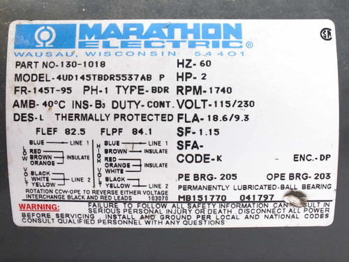 Marathon electric 130 1018 2 hp 115 230 1ph electric motor on wiring diagram for a marathon electric motor Marathon Motor Parts need wiring diagram a marathon electric motor