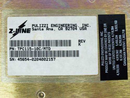 Pilizzi Engeneering TPC115-10-C Z-Line Power Distribution System 1U Phase-1 10-Port