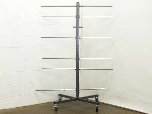 "Generic Industrial Metal Cart on Wheels with assorted 3/4"" Aluminum Storage Rods"