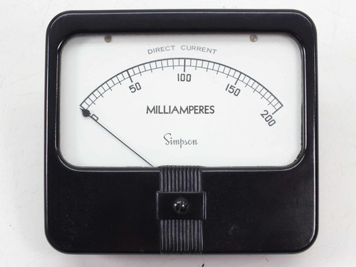 Simpson Model 29  Panal Mount 0 - 200 mA DC Milliamperes Meter