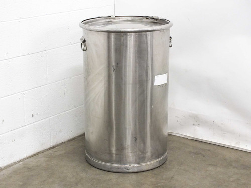 """Stainless Steel Drum for Storage with Lid 18"""" Diameter x 29"""" Tall - 32 Gallon"""