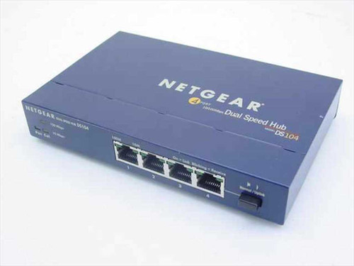 NetGear Netgear 4 Port 10/100Mbps Dual Speed Hub (DS104) W/ AC Adaptor
