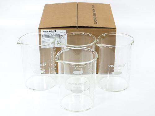 VWR 89000-228 2000ml Heavy-Duty Low Form Beakers Borosilicate Glass - LOT OF 4
