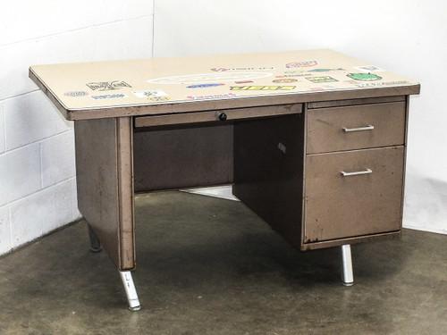 Vintage Metal Tanker Industrial 3-Drawer Writing Desk Table