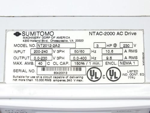 Sumitomo NT2012-2A2 3HP AC Motor Drive 230VAC Sensorless Flux Vector NTAC-2000
