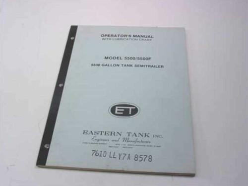 Eastern Tank Operator's Manual w/ Lubrication Chart (5500 Gallo 5500/5500F