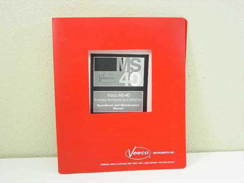 Veeco MS-40 Portable Automatic Leak Detector Operations (1109-186-00)