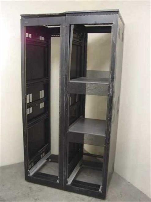 Winsted Black Double Rackmount Cabinet on Wheels 45U