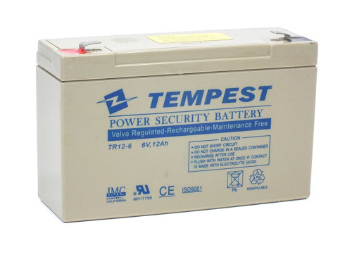 Tempest TR12-6 6V 12Ah Valve Regulated Rechargeable Maintenance Free Battery