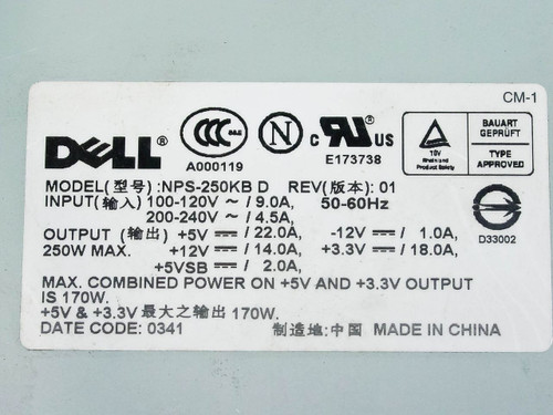 Dell NPS-250KB D 170 W Power Supply for Dell Optiplex PN M1608 ...