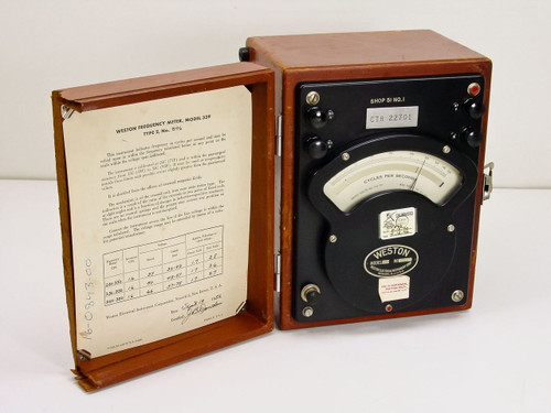 Weston 339 Type 2 Analog Frequency Meter with Wooden Enclosure