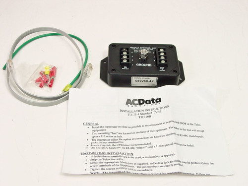 AC Data Systems T1 E1 Backhaul Surge Suppressor Protector (TJ1010B) - No Battery