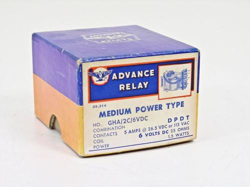 Advance Relay Medium Power Type 1.5 Watts (GHA/2C/6VDC)
