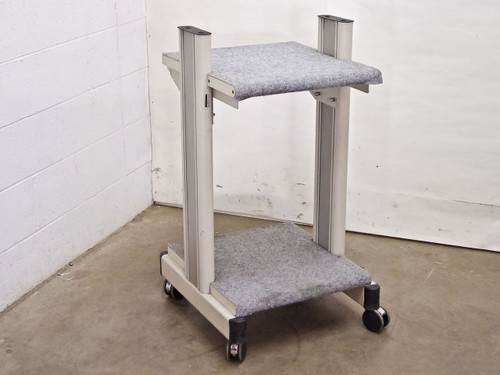 Beige White Rolling Cart with Carpeted Surfaces (Cart)