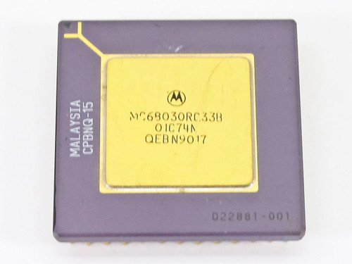 Motorola Gold Faced Processor Chip (MC68030RC33B)
