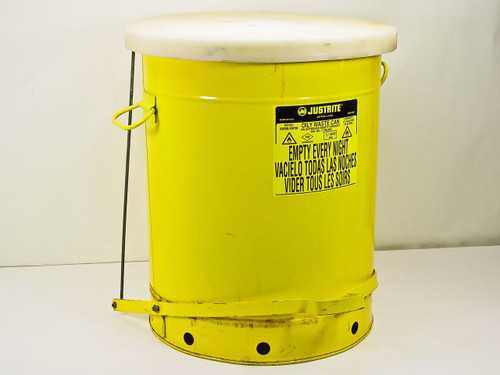 Justrite 21 Gallon Oily Waste Can - Yellow Foot Operated (09700 / 09710)