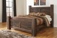 Quinden Dark Brown King Poster Bed