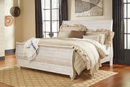Willowton Whitewash King Sleigh Bed