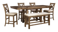 Moriville Gray Pc. Rectangular Counter Height Dining Set