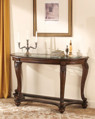 Norcastle Beveled Glass Dark Brown Sofa Table