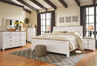 Willowton Whitewash 8 Pc. Dresser, Mirror, Chest, King Panel Bed & 2 Nightstands
