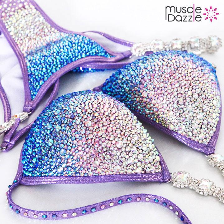 Purple Blue Crystal Competition Bikini