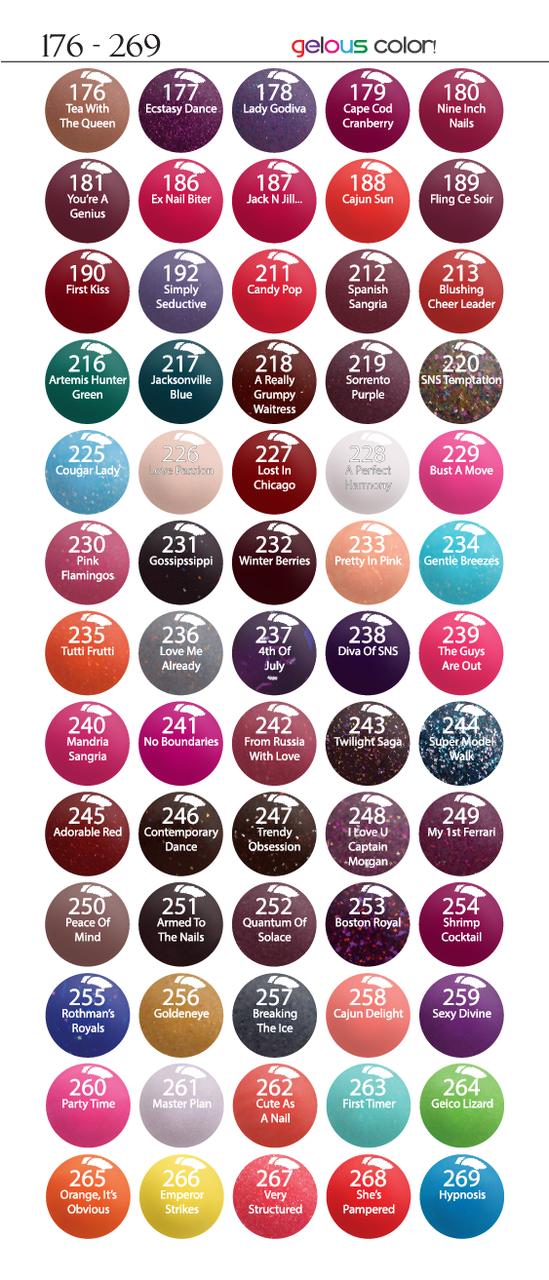 Sns Gelous Color 1oz Dipping Powders Pedispa Centre