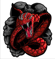 Snake Red Vinyl Decal Graphic.  These stickers are laminated and cut to the exact shape so these will not scratch or fade