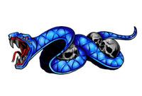Snake Bike Blue Decal Sticker