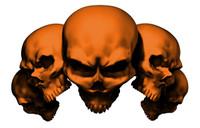 5 Skull Orange Decal Sticker