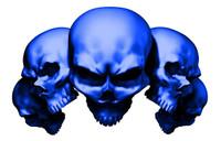 5 Skull Blue Decal Sticker