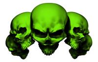 5 Skull Green Decal Sticker