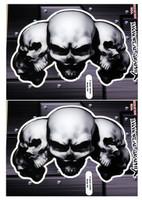5 Skull White 3D Gel Decal Sticker set