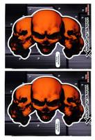 5 Skull Orange 3D Gel Decal Sticker set